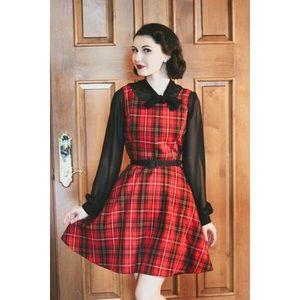 RETROLICIOUS NEW Red Plaid Retro Skater Dress